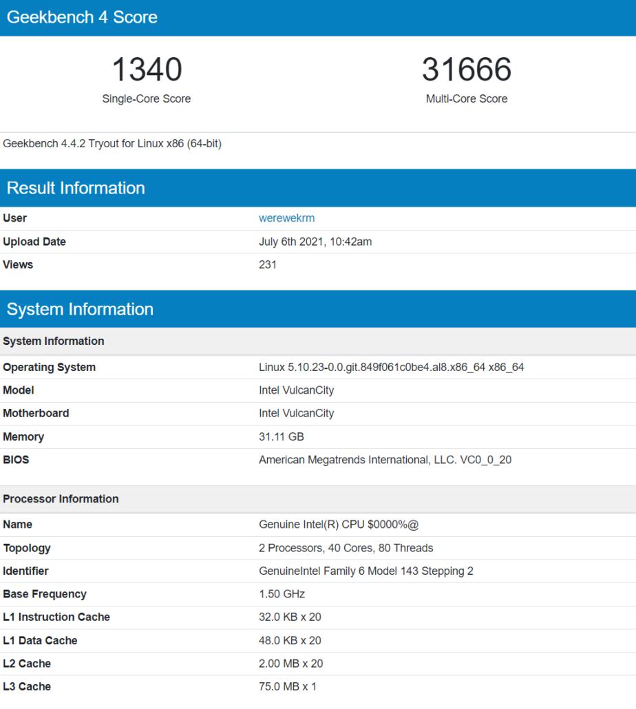 Intel Sapphire Rapids Xeon 20 Core 40 Thread CPU Geekbench Benchmark