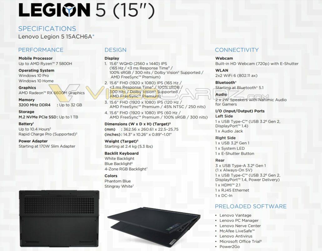 Lenovo Legion 5 5800H 6600M