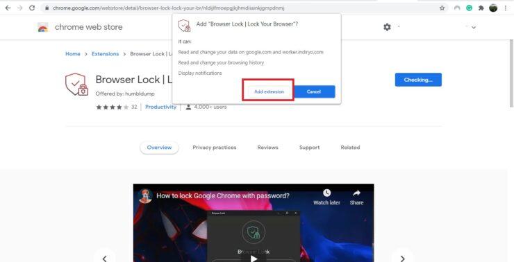 Lock Edge or Chrome with password