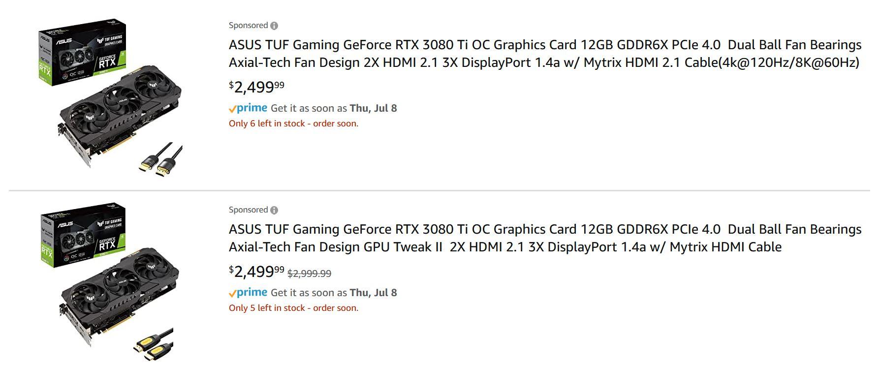 RTX 3080 Ti pricing Amazon