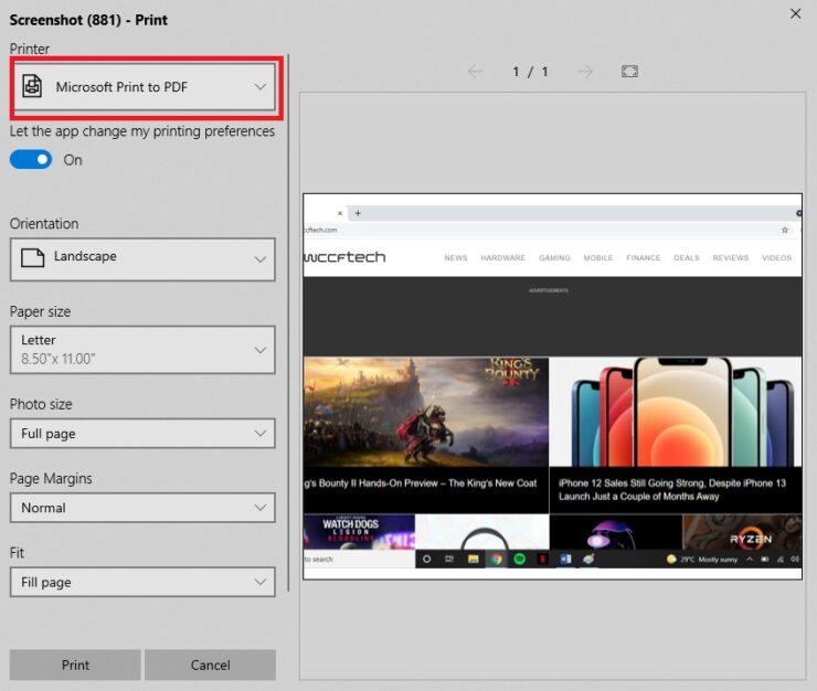 Save a Screenshot as PDF