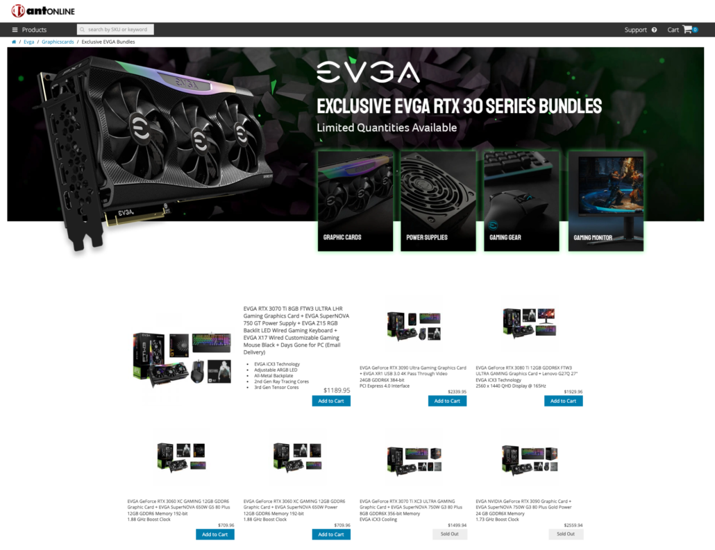 antOnline EVGA RTX 30 series graphics cards bundle page