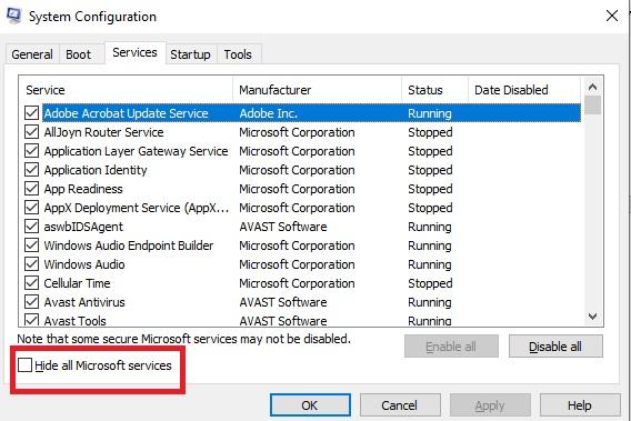 Services configuration