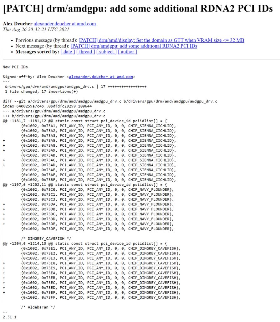 AMD Navi 21, Navi 22, Nav 23 RDNA 2 GPUs Recieve 17 Brand New PCI IDs