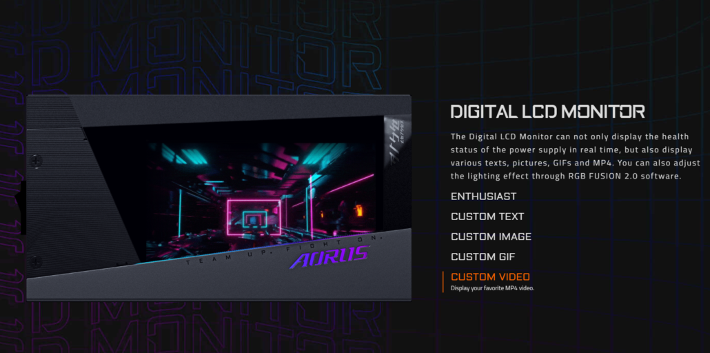 AORUS Introduces AORUS P1200W 80 Platinum Power Supply With Customizable LCD Monitor