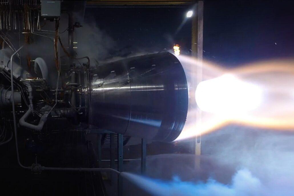 Blue Origin BE-4 engine test fire
