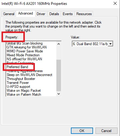 Change Between 2.4Ghz and 5GHz WiFi Bands