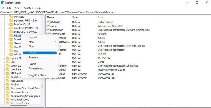 Uninstall in Registry Editor