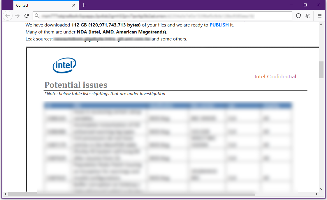 Image showing the leaked contents of potential Intel security issues in the Gigabyte hack.