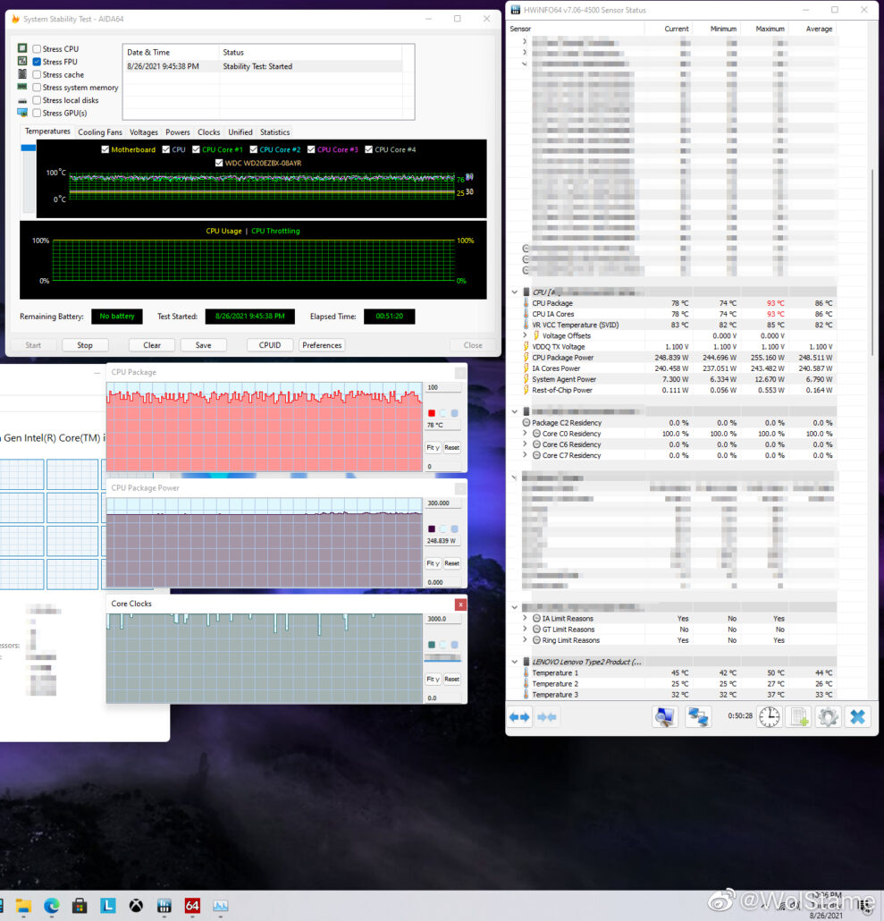 Alleged Intel Alder Lake-S Desktop CPU Power Consumption & Temperatures reported by Lenovo's manager. (Image Source: HXL)