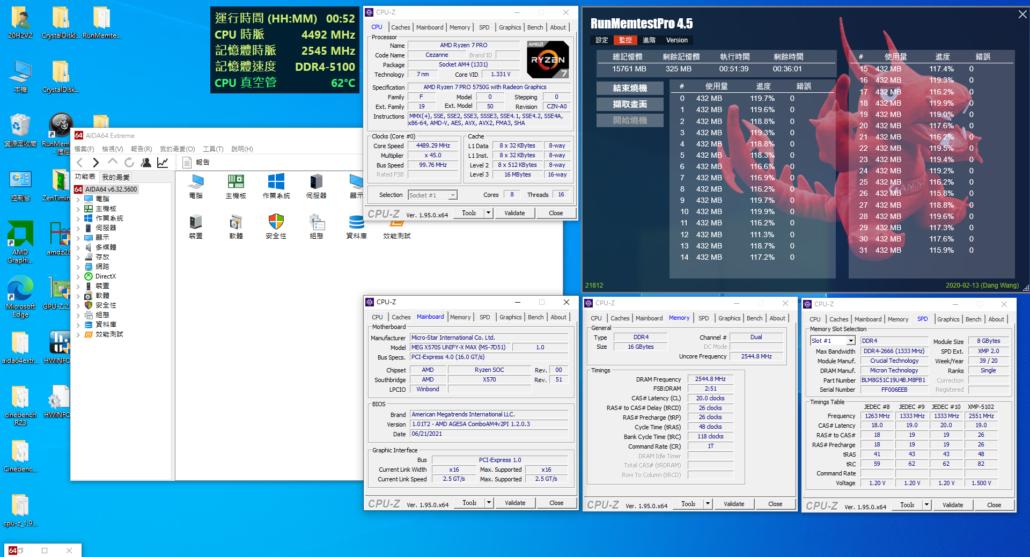 MSI MEG X570S Unify-X & AMD Ryzen 5000G With 2.55 GHz FCLK OC (Air Cooled)