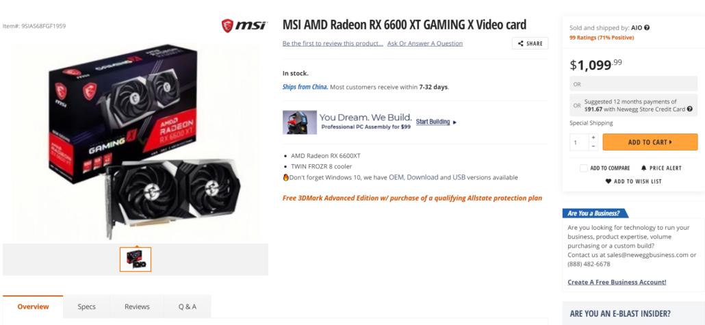 MSI Radeon RX 6600 XT Gaming X Graphics Card GPU Scalper