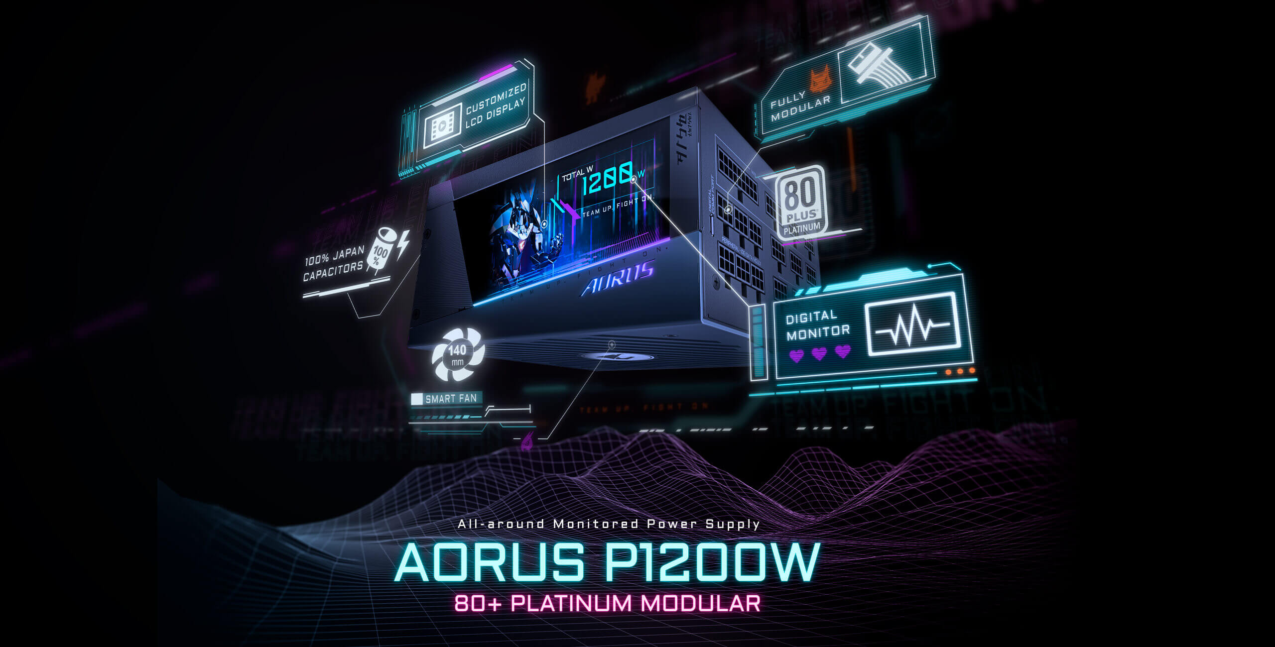 AORUS Introduces AORUS P1200W 80+ Platinum Power Supply With Customizable LCD Monitor