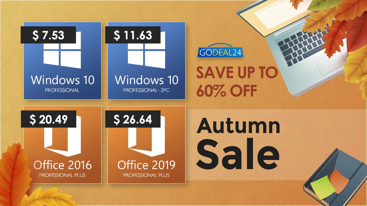 GoDeal24.com Autumn Sale Alert: Get Windows 10 at only $7.53!!