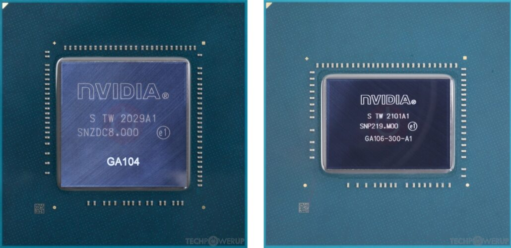 NVIDIA Ampere GA104 and GA106 GPU dies pictured together. (Image Credits: TechPowerUp)