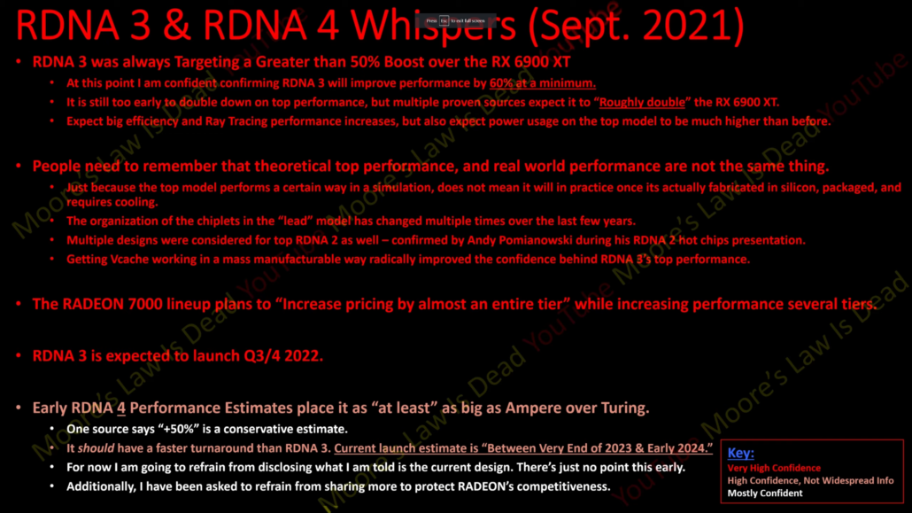 AMD Radeon RX 7000 (RDNA 3) GPU rumors state higher performance & higher-pricing per tier. (Image Source: MLID)