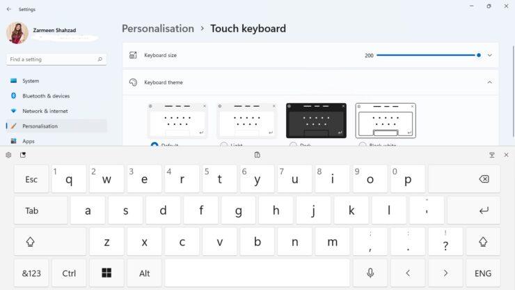 Change Touch Keyboard Size