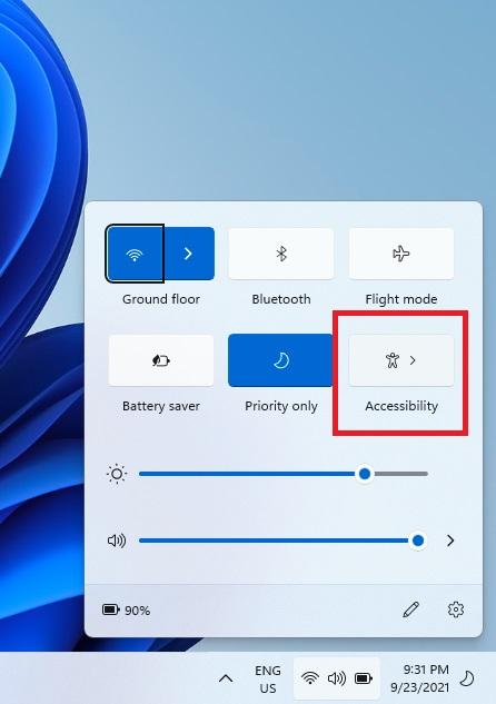 Accessibility Taskbar Shortcut
