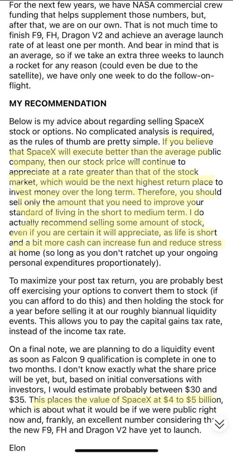 Elon Musk SpaceX Costs Short Sellers Risks Letter