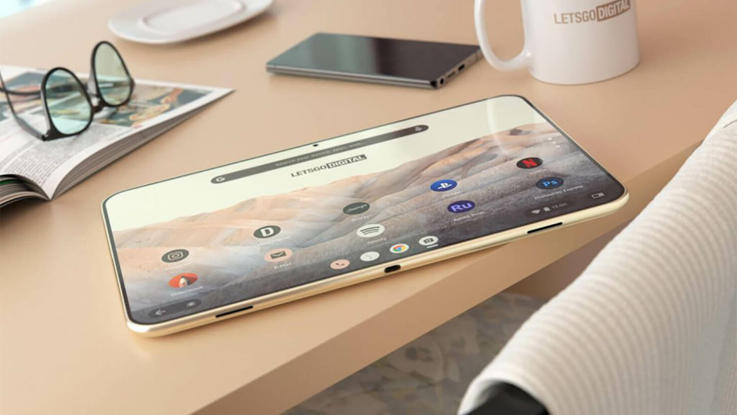 A Google Pixel Tablet With Rounded Corners, Futuristic Design, Depicted in New Renders Based on Recently Published Patent
