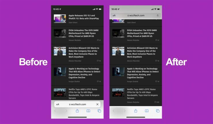 Move Safari address bar in iOS 15 to the top