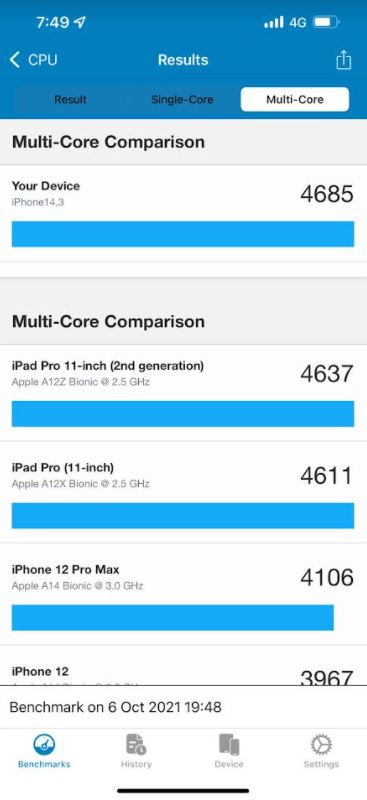 A15 Bionic from Apple in Geekbench 5 Low Power Mode