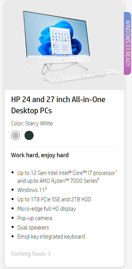 HP has listed down its next-gen 24 and 27-inch AIO PCs with AMD Ryzen 7000 CPUs. (Image Credits: Momomo_US)