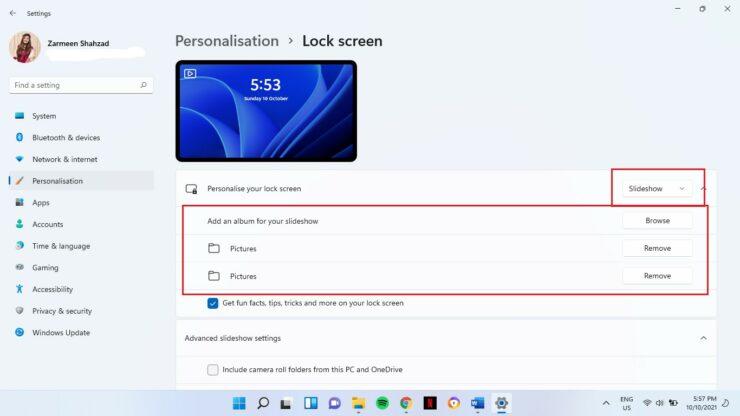 Customize Windows 11 Lock Screen