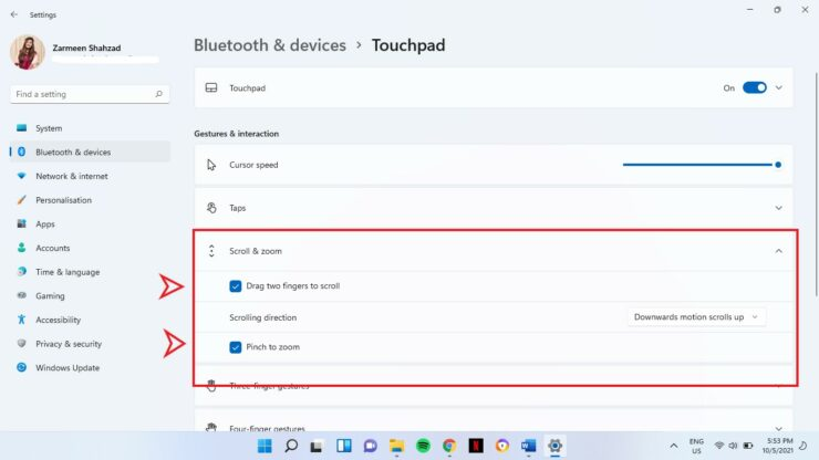Disable Touchpad Gestures Windows 11