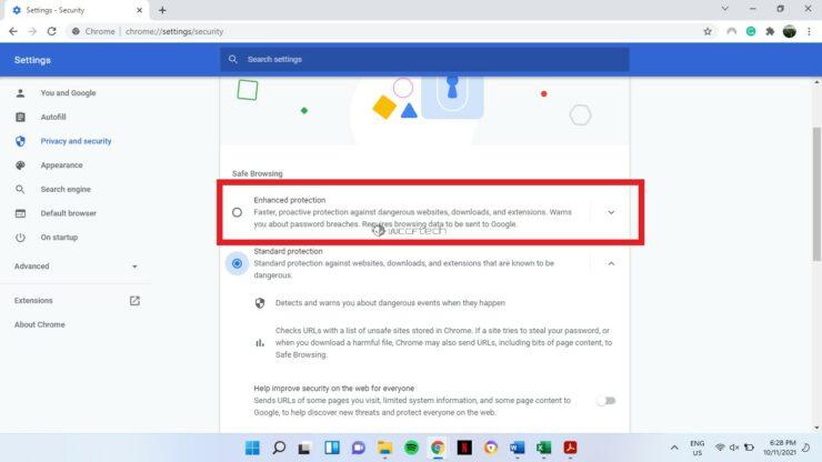 Enhanced Safe Browsing Google Chrome