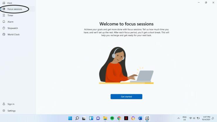Focus Sessions Windows 11