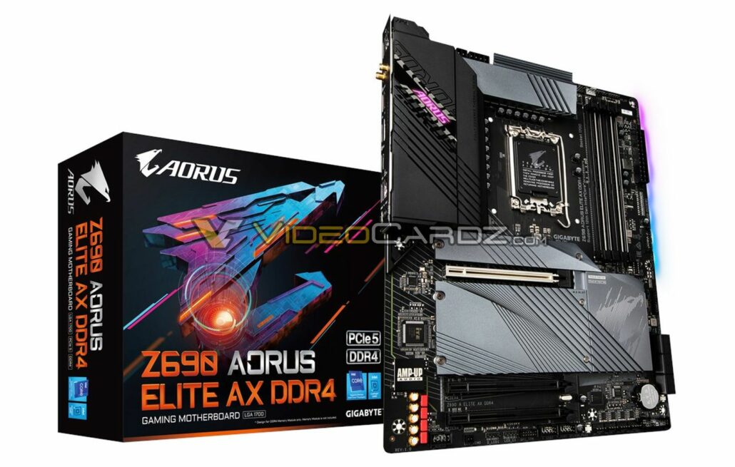 Gigabyte Z690 AORUS Elite AX DDR4 motherboard gets a first look too. (Image Credits: Videocardz)