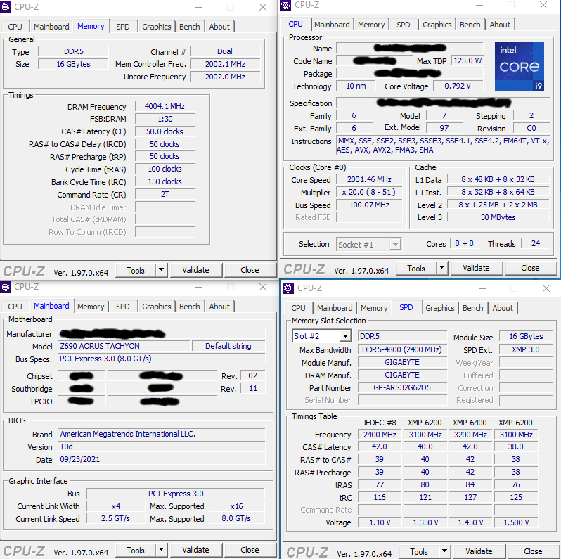 Intel Core i9-12900K Spotted Running on Z690 AORUS Tachyon Motherboard & DDR5-8000 Memory