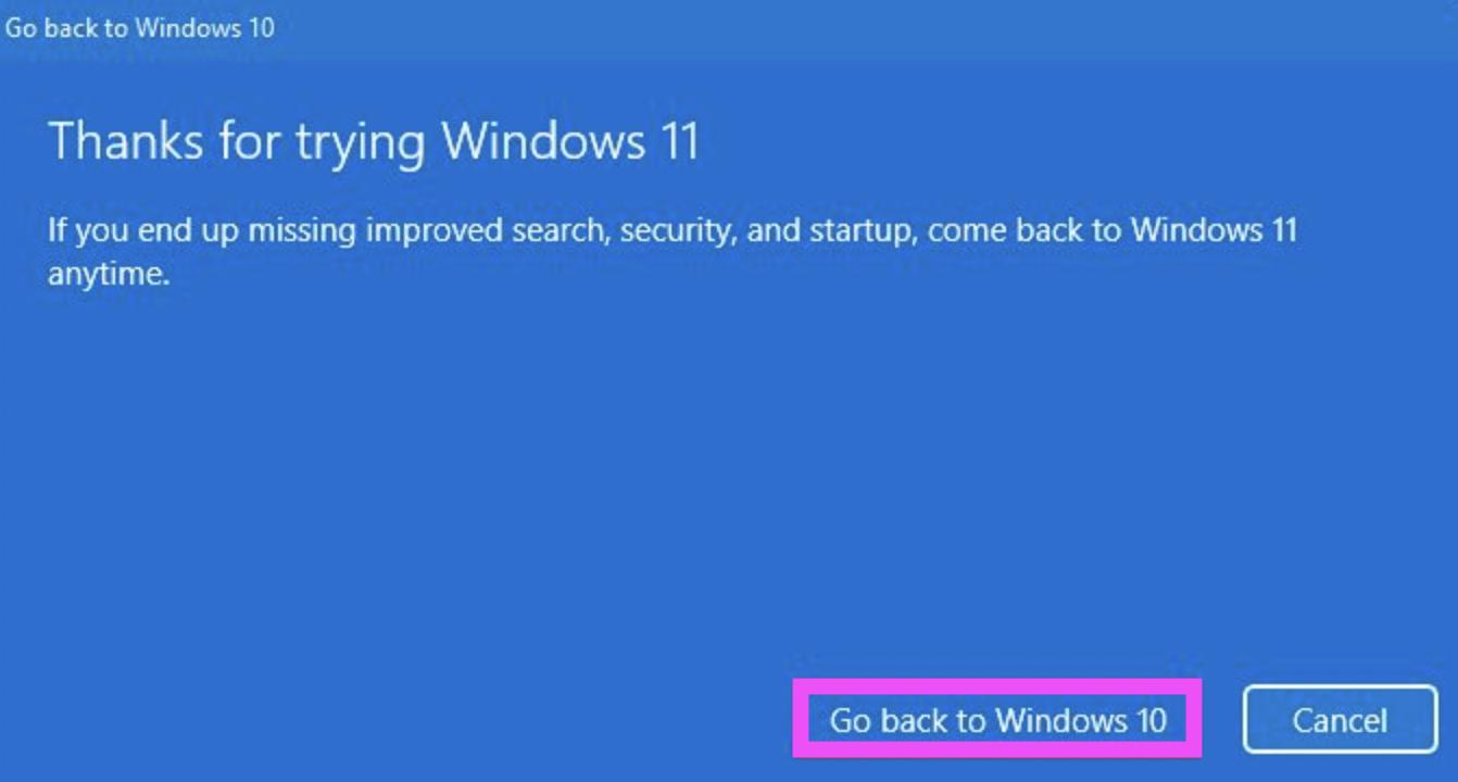 downgrade windows 11